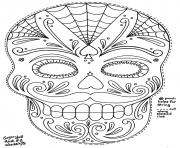 sugar skull mask 2 coloring pages