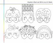 Printable 6 shopkins line art masks coloring pages