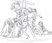 Print good friday 13 thirteenth station jesus is taken down from the cross by gustave dore coloring pages