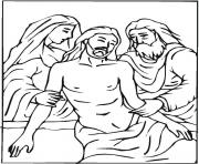 Printable good friday jesus descent from the cross coloring pages