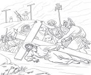 Printable good friday 9 ninth station jesus falls the third time coloring pages