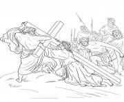 Print good friday 5 fifth station jesus is helped to carry his cross by st coloring pages
