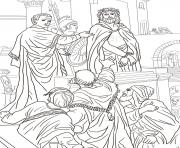 Print good friday 9 pontius pilate asks the crowd coloring pages