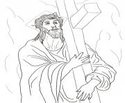 Print good friday 2 second station jesus carries his cross by el greco coloring pages