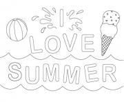 Printable i love summer e029 coloring pages