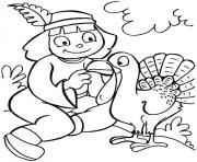 Printable indian girl and turkey thanksgiving s for girlsc182 coloring pages