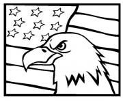 Print american Eagle and us flag coloring pages