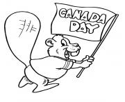 Happy Canada Day Beaver Waving Canada Flag