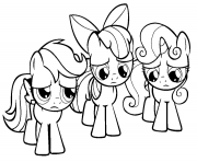 Printable 3 little rainbow dash pony coloring pages