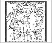 Printable paw patrol christmas ryder coloring pages