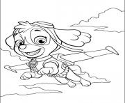 Printable paw patrol skye is flying coloring pages