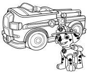 Printable paw patrol marshal firefighter truck coloring pages