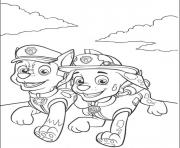 Printable paw patrol marshall and chase running coloring pages