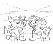 Printable paw patrol marshall talking with chase coloring pages