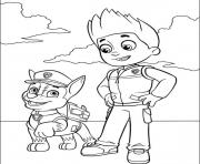 Printable paw patrol ryder and chase coloring pages