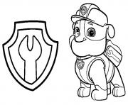 Printable paw patrol rubble mechanic badge coloring pages