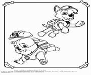 paw patrol skye and zuma behind a tower coloring pages
