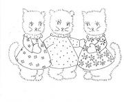 Printable three pregnant kittens animal coloring pages