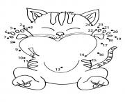Printable The connect the dots kitten coloring pages