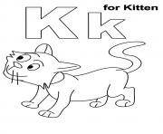 Printable the k for kitten kitten coloring pages