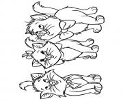 Printable The Three orphan kittens kitten coloring pages