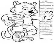 basketball player cat animal saba8 coloring pages