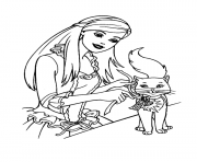 barbie and her little cat animal s1cd8 coloring pages