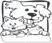 friendly dog and cat fea4 coloring pages