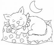 cat sleeping at night 491f coloring pages
