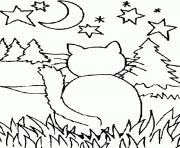 cat staring at the moon 71ac coloring pages