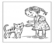 little girl feeding cat 99b1 coloring pages