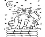 cat on a house at night 2268 coloring pages