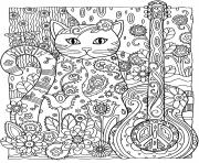 kitten adult cat guitar coloring pages