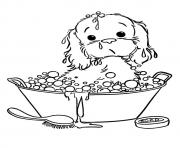 The Puppy Taking A Bubble Bath puppy coloring pages