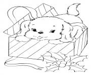 Printable The A Pup Coming Out Of A Christmas Gift puppy coloring pages