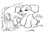 The Pup And Bird puppy coloring pages