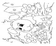 The Pup In The Garden puppy coloring pages