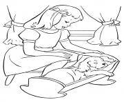 The Girl Putting Pup To Sleep puppy coloring pages
