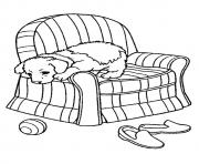 The Pup On A Sofa puppy coloring pages