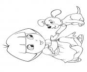 The Dora With Pup puppy coloring pages