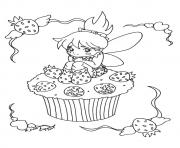 Printable The Little Fairy Cupcake coloring pages