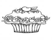 Print The Berry Cupcake fruits coloring pages