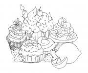 Printable beautiful sweet cupcakes coloring pages
