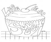 Print The Cupcake with a Message sweet coloring pages