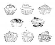Printable free cupcakes coloring pages