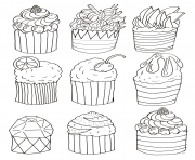 Print simple cupcakes by olivier coloring pages
