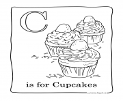 Printable facile cupcakes coloring pages