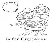 Printable C is for Cupcakes12 coloring pages