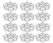 Printable coloring adult cupcakes mosaique coloring pages