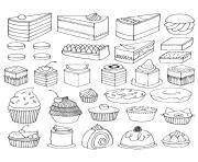 Print coloring adult cupcakes and little cakes coloring pages